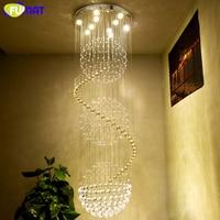 FUMAT K9 Crystal Chandelier Ceiling Modern Artistic Spiral Crystal Lamp Hotel Lustre Stair LED Large Light Fixtures Chandeliers