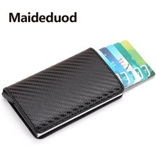 2019 New men Antitheft metal card holder fashion RFID aluminium credit card holder crazy horse PU leather travel card wallet(China)
