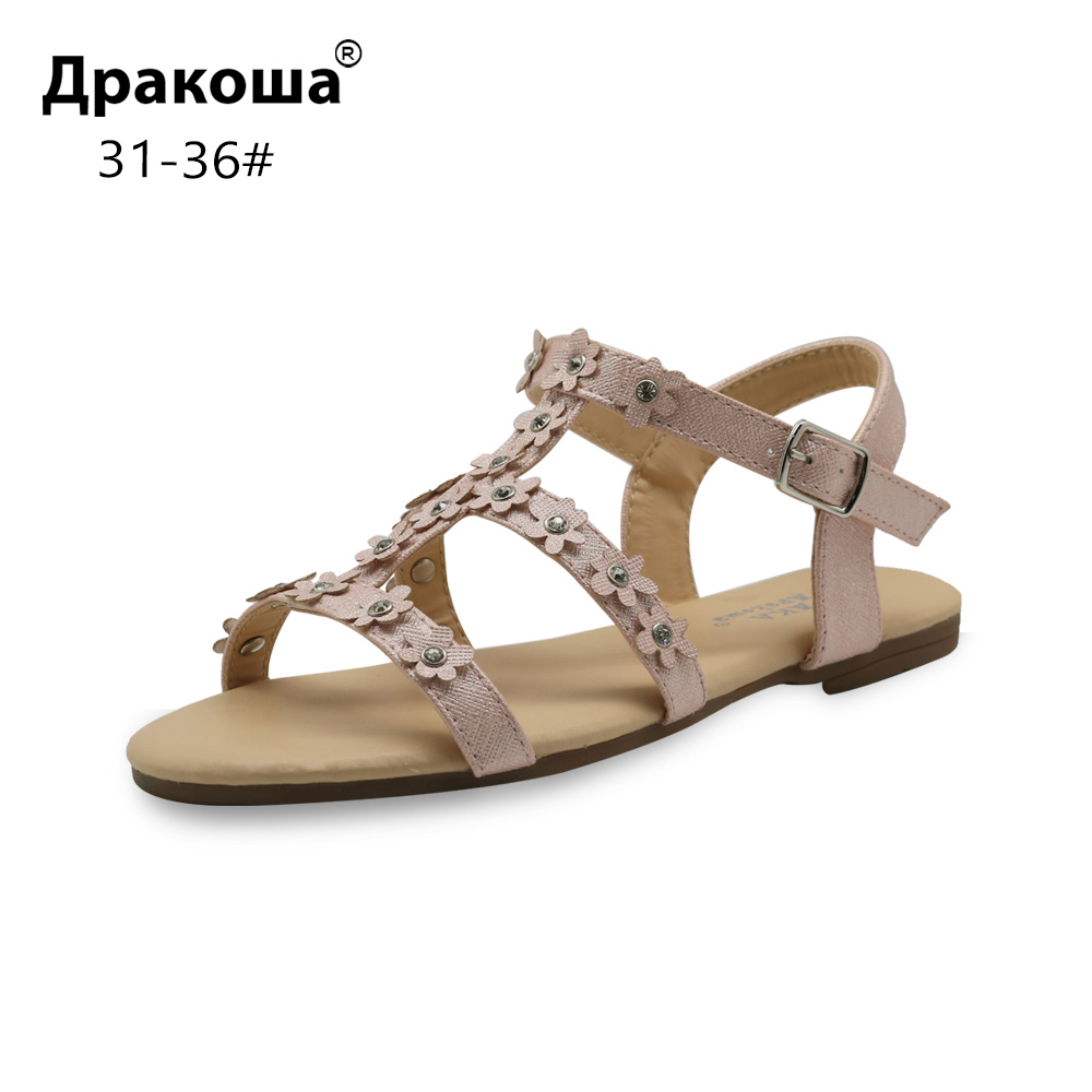 Apakowa Eur 31-36 Summer Children's Shoes For Girls Beautiful Girls Flat Sandals With Flowers For Beach Party Wedding Footwear