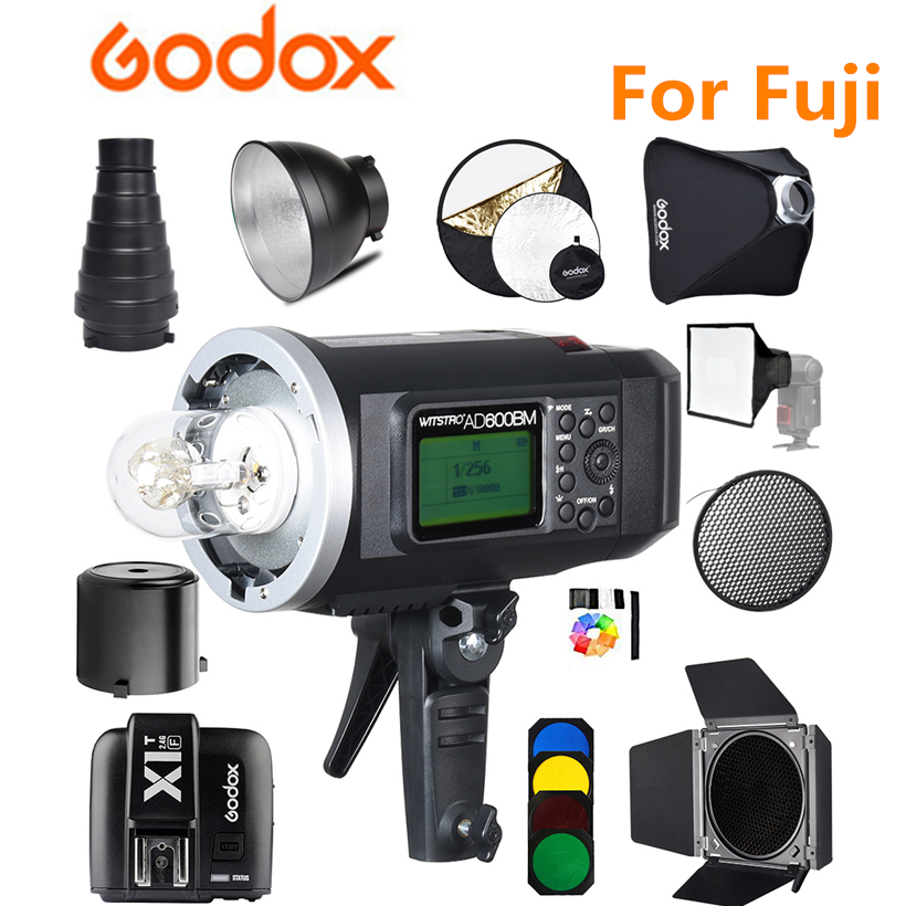 Godox AD600BM Bowens Mount 600Ws GN87 HSS Sync Outdoor Flash Strobe Light with 2.4G Wireless X System,8700mAh Battery + X1T-F godox ad600bm 600w hss gn87 bowens mount flash light or ad600bm x1t c transmitter trigger for canon