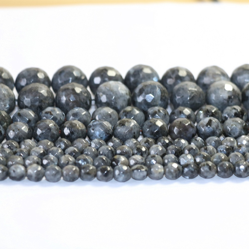 Natural Black labradorite 14mm faceted round Jewellery More Size Loose beads 15 inches A06-5