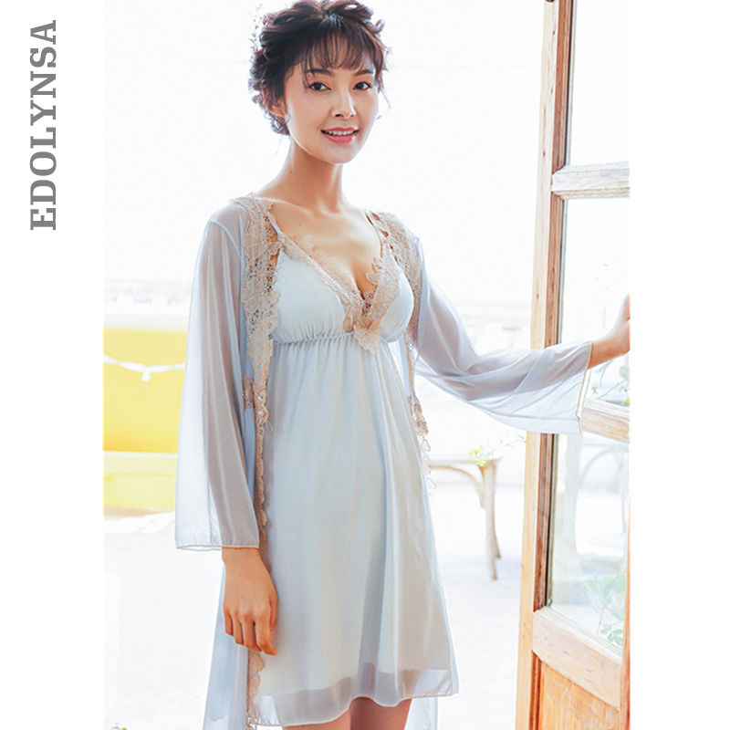 Autumn Two 2 Pieces Sleepwear Women Lace Robe Gown Set Summer Silk Robe Female Sexy Silk