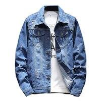 2019 New Fashion Mens Blue Destruction Hole Denim Jackets Size 5XL Fall Casual Jacket men coat