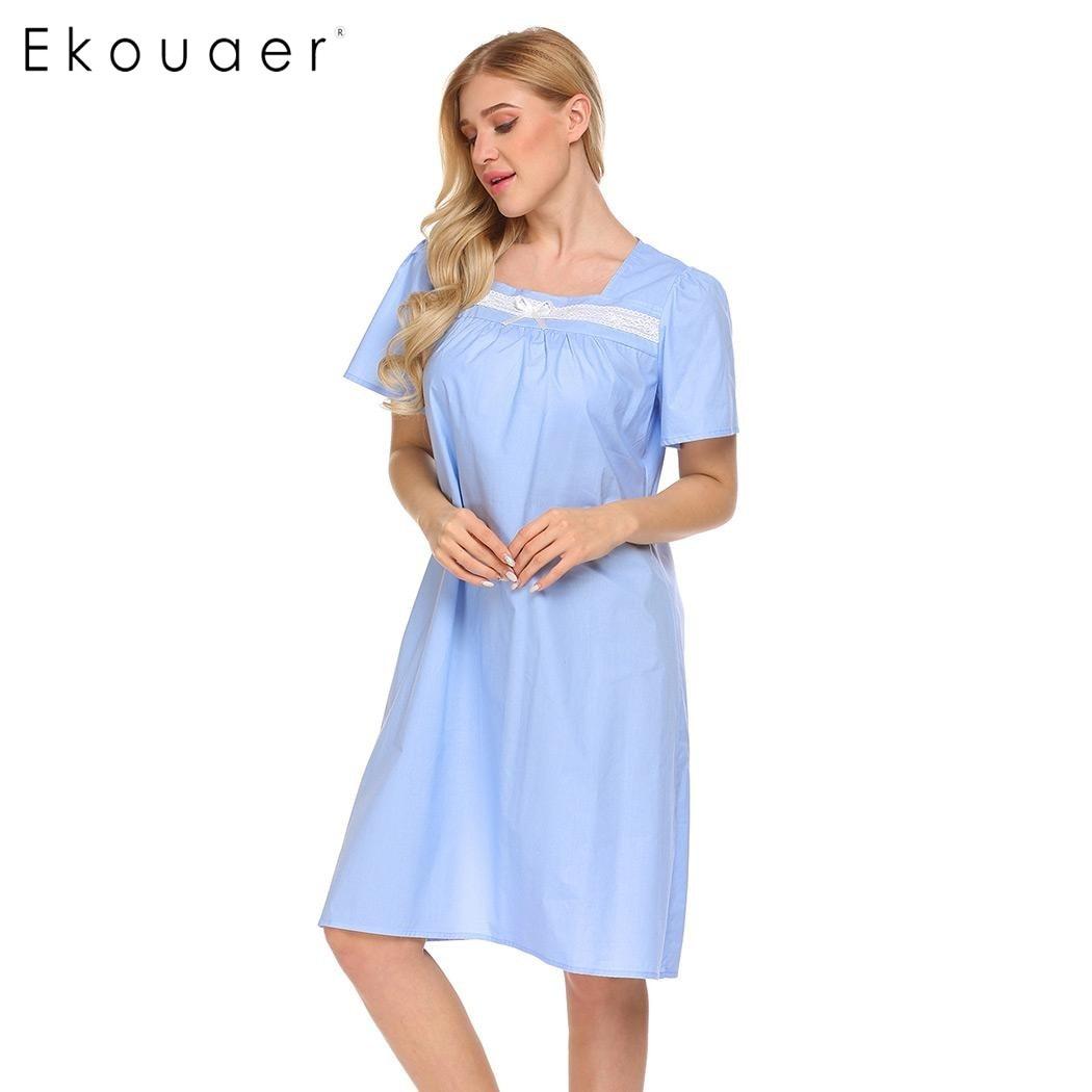 Ekouaer Women Casual Sleepwear Short Sleeve 100% Cotton Knee Length  Nightgown Lace Trim Sleep Dress Nightwear Female Homewear-in Nightgowns    Sleepshirts ... dcb81e940