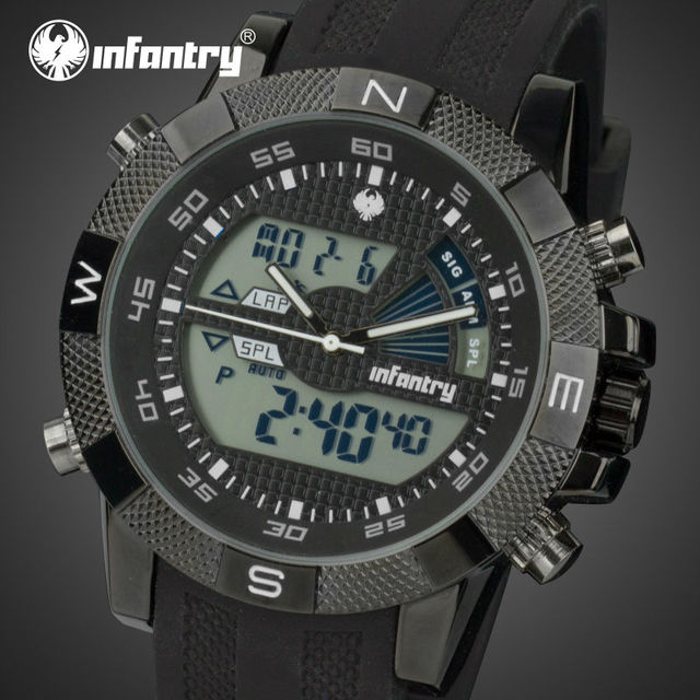 INFANTRY Watches Top Luxury Brand Men's Quartz LED Analog Digital Clock Army Military Sports Wrist Watch Relogio Masculino