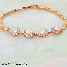 New 2017 Brand designer swiss Yellow Gold Bracelet fashion jewelry pulseras 19cm 7.48 inch B109