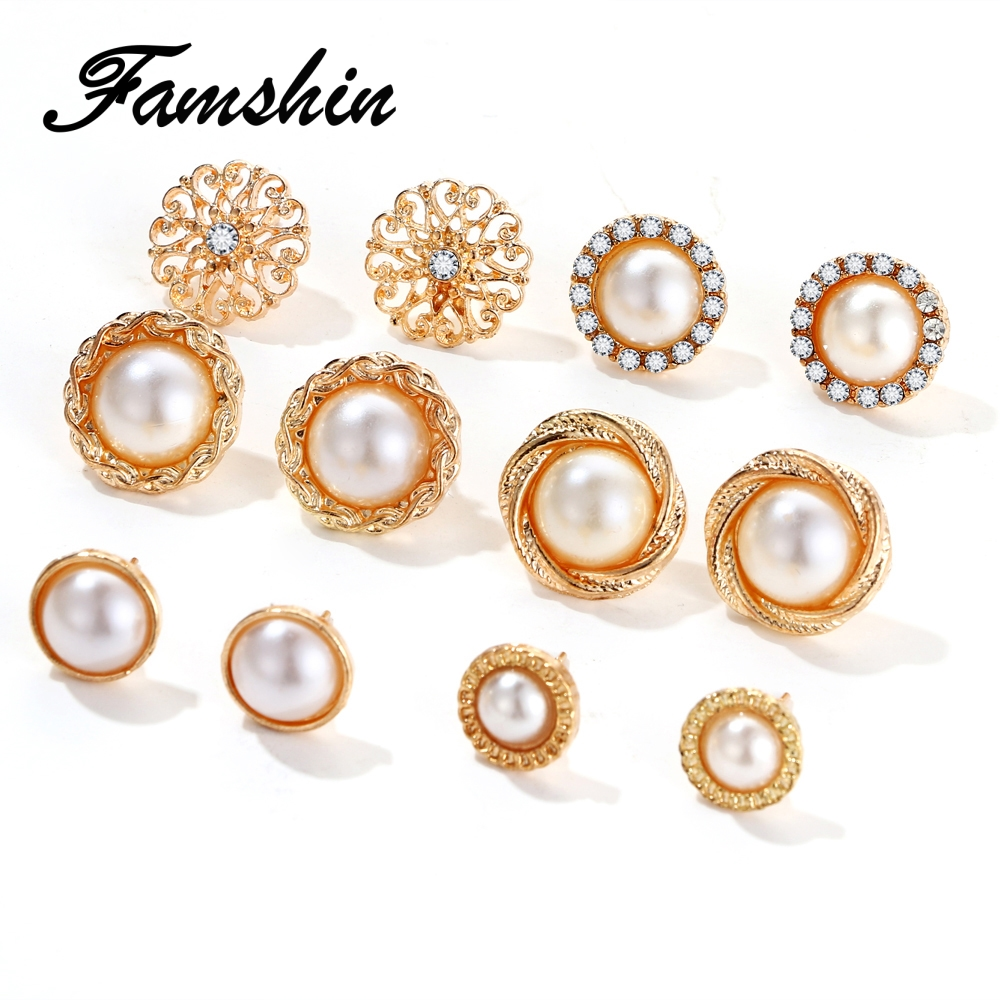 Tomtosh 6 Pairs Set Gold Color Flower Hollow Stud Earring