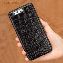 Wangcangli telefon fall Für Huawei P10 Plus Echte kalbsleder Zurück Abdeckung Fall/krokodil textur Leder Fall