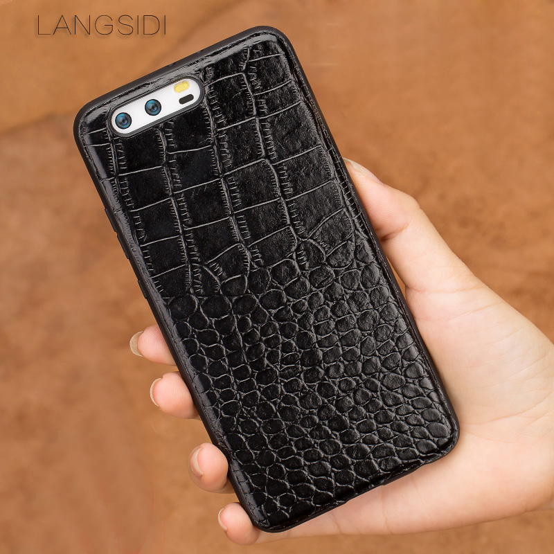 wangcangli phone case For Huawei P10 Plus Real Calf leather Back Cover Case/crocodile texture Leather Case-in Fitted Cases from Cellphones & Telecommunications
