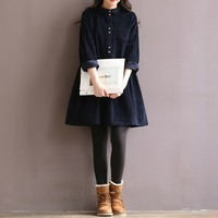 Women Casual Loose Long Sleeve Lapel Corduroy Dress Short Mini Dresses Female Shirt Vestido