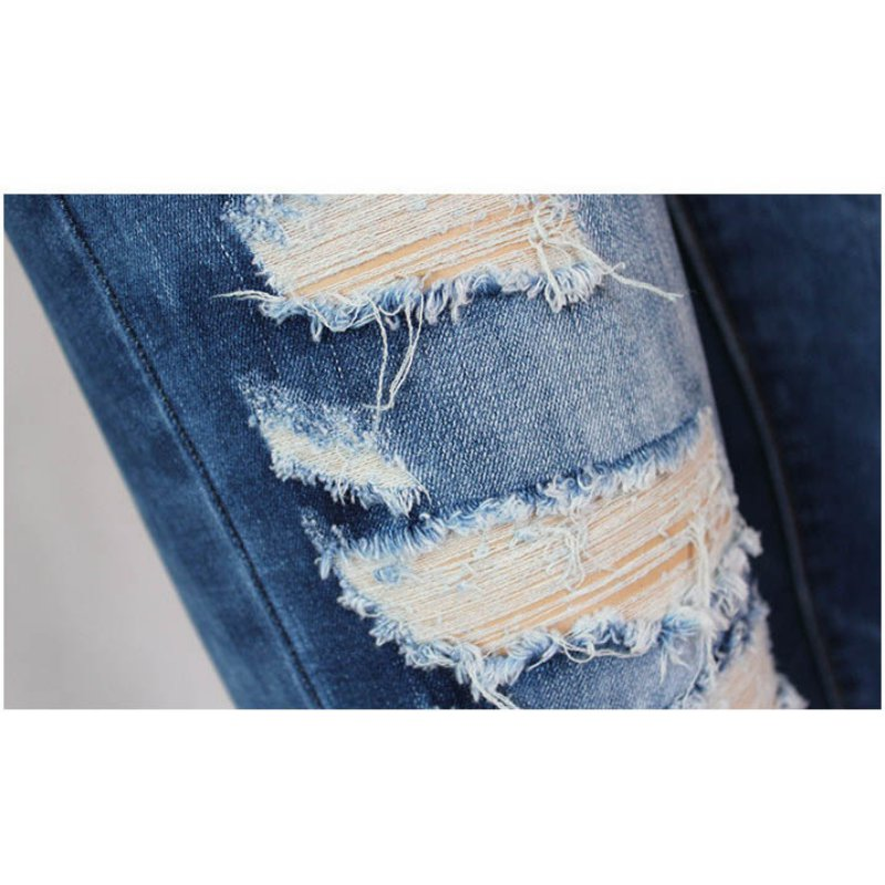 fashion straight ripped holes jeans 4