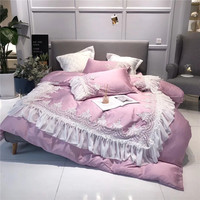 Pink Romantic Princess Style White Lace Exquisite Embroidery 80S Fine Tencel Bedding Set Duvet Cover Bed sheet Pillowcases 4pcs