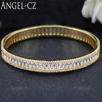ANGELCZ Fashion OL CZ Jewelry For Women Micro Paved Delicate Crystal Light Yellow Gold Color Open