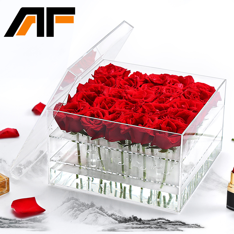 AF Luxury Handmade 25 Holes Clear Plastic Gift Acrylic Rose Flower Box With Lid Jewelry Makeup Organizer Display