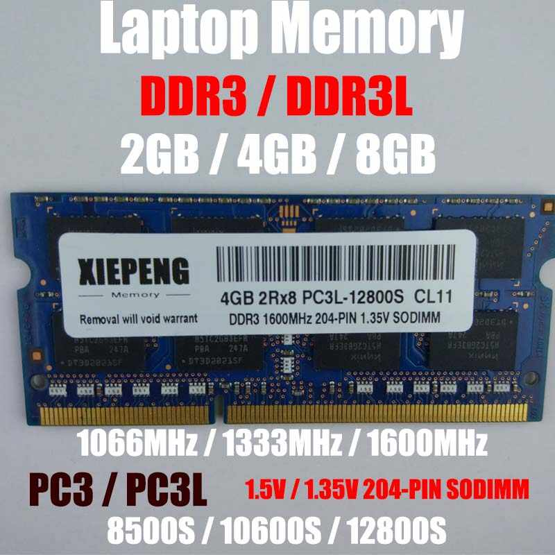 Laptop 4GB DDR3 1333MHz PC3 10600 RAM 8GB 2Rx8 PC3L-12800 S 2GB PC3-8500S 1066MHz Notebook Memory Support DDR3 1600mhz Computer