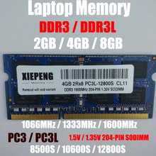 Laptop 4GB DDR3 1333MHz PC3 10600 RAM 8GB 2Rx8 PC3L-12800 S 2GB PC3-8500S 1066MHz Notebook Memory Support DDR3 1600mhz Computer цена