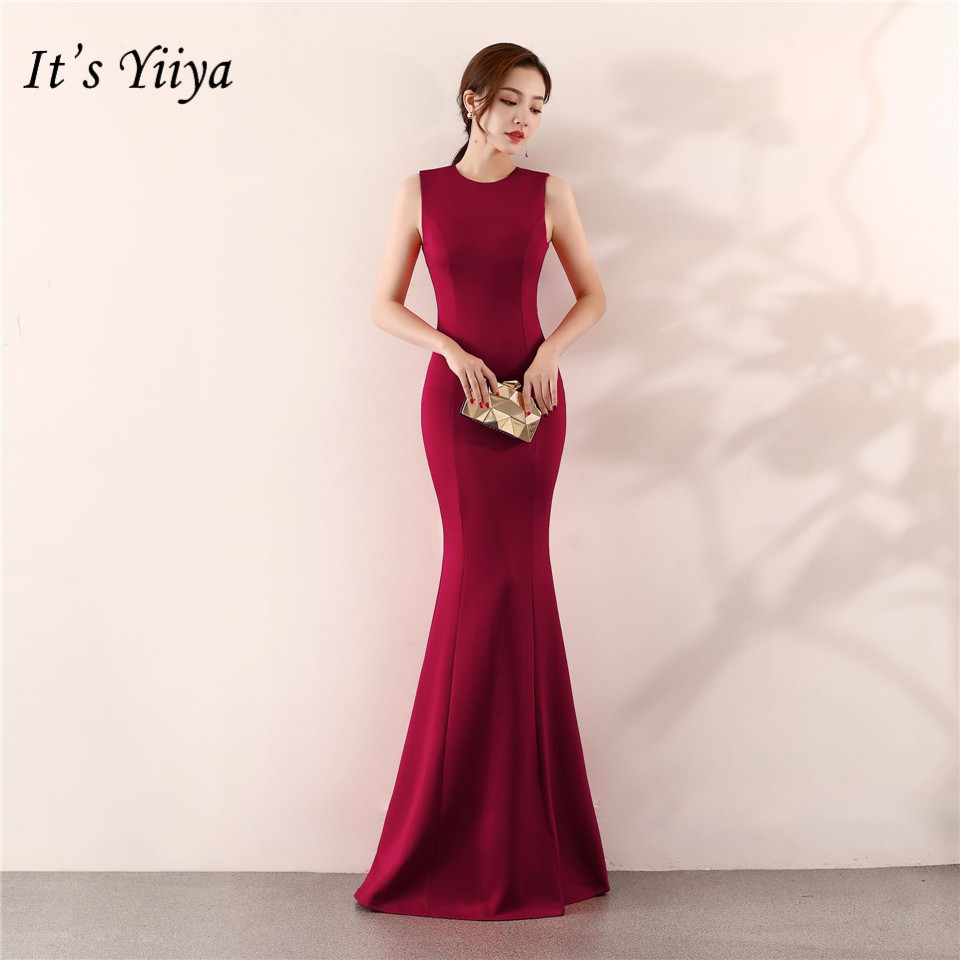 It's Yiiya Mermaid Evening Dress Elegant Floor-length Solid Long Party Gown Zipper Back Sleeveless O-neck Sexy Prom Dresses C096
