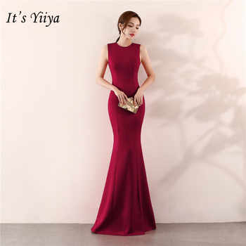 It\'s Yiiya Mermaid Evening dress Elegant Floor-length Solid long Party Gown Zipper back Sleeveless O-neck Sexy Prom dresses C096 - DISCOUNT ITEM  37 OFF Weddings & Events