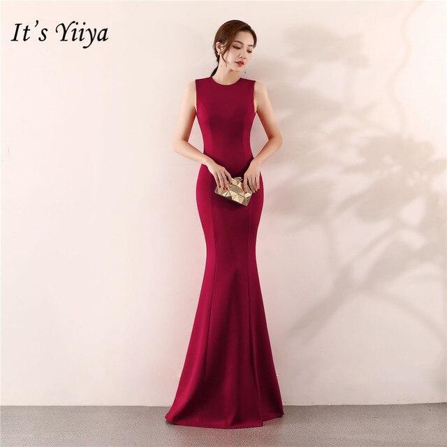 Its Yiiya Mermaid Evening dress Elegant Floor length Solid long Party Gown Zipper back Sleeveless O neck Sexy Prom dresses C096