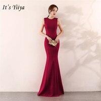 It's Yiiya Mermaid Evening dress Elegant Floor length Solid long Party Gown Zipper back Sleeveless O neck Sexy Prom dresses C096