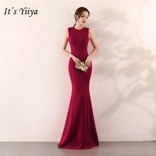 É yiiya sereia vestido de noite elegante andar de comprimento sólido longo vestido de festa com zíper de volta sem mangas o pescoço sexy vestidos de baile c096