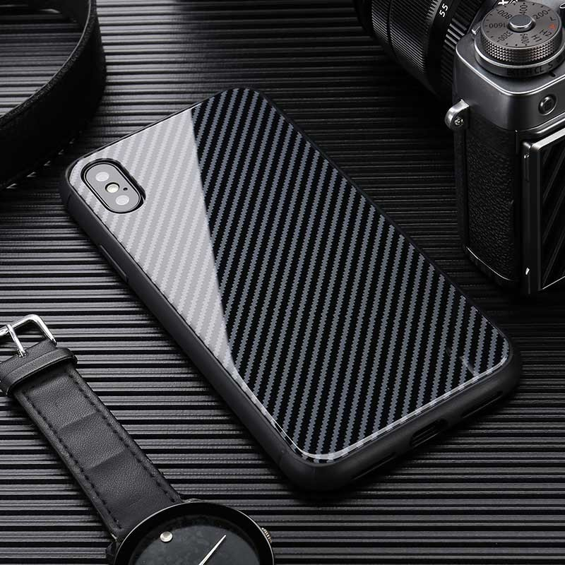 Hot Carbon Fiber Cover Case For Iphone X Xr Xs Max 6s 7 8 6 Plus Mirror Glass Luxury Car For Iphone 7 8 Plus Capa