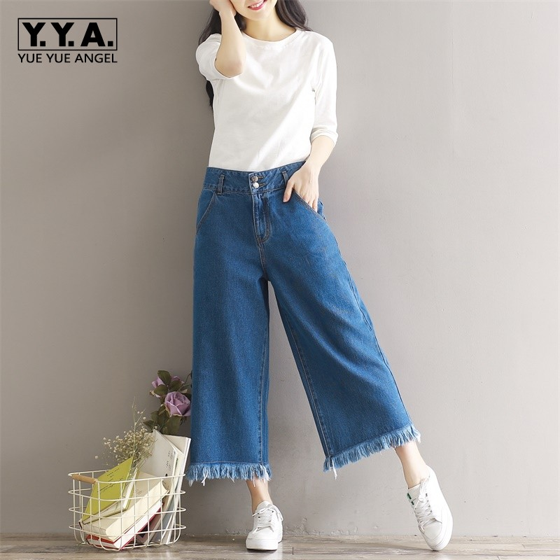 Classic Spring Denim Trousres For Women Large Size S-3XL Loose Wide Leg Pants Casual Tassel Jeans With High Waist Comfort Cotton charter club women s comfort waist slim leg pants 18 warm toffee