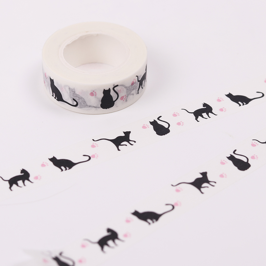 1 PC 1.5cm Wide Pink Foot Print Black Cat Washi Tape DIY Scrapbooking Sticker Label Masking Tape School Office Supply