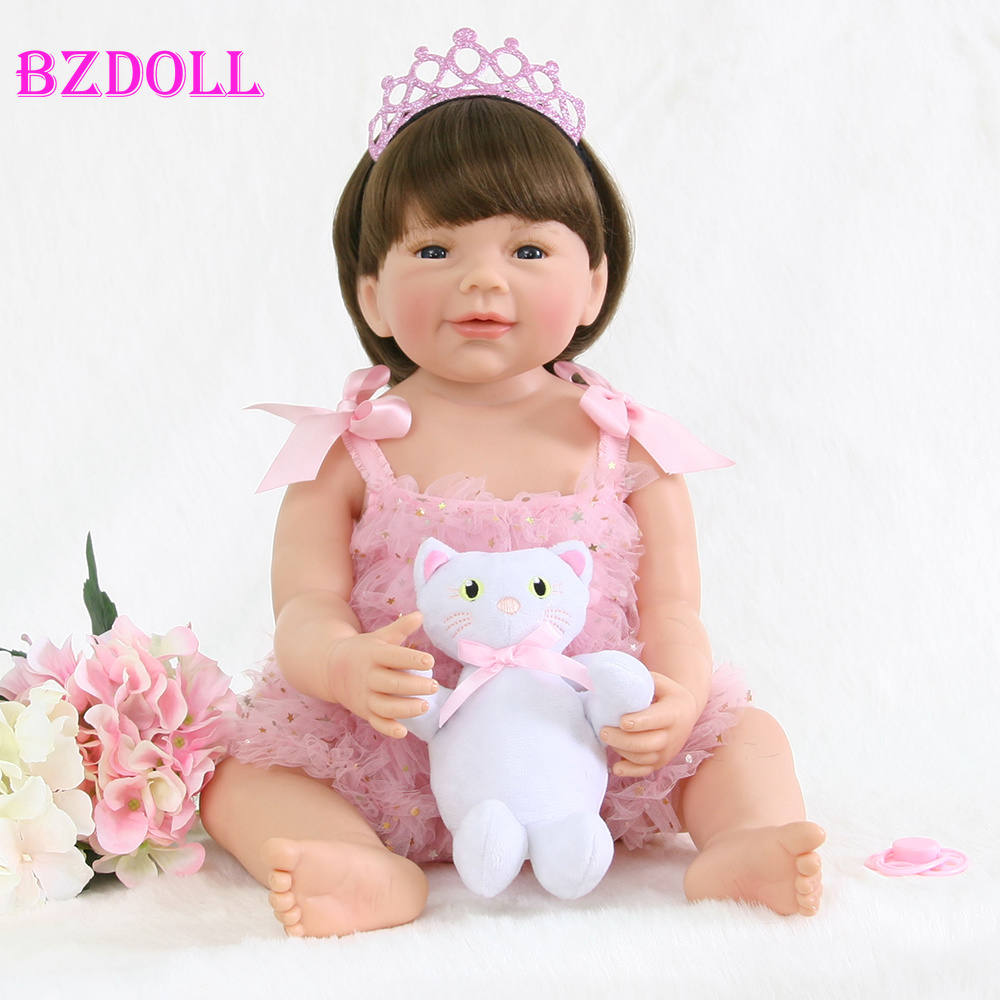 55cm Full Silicone Reborn Baby Doll Toy For Girl Boneca Vinyl Princess Newborn Babies With Cat Fashion Birthday Gift Bathe Toy Price Remains Stable