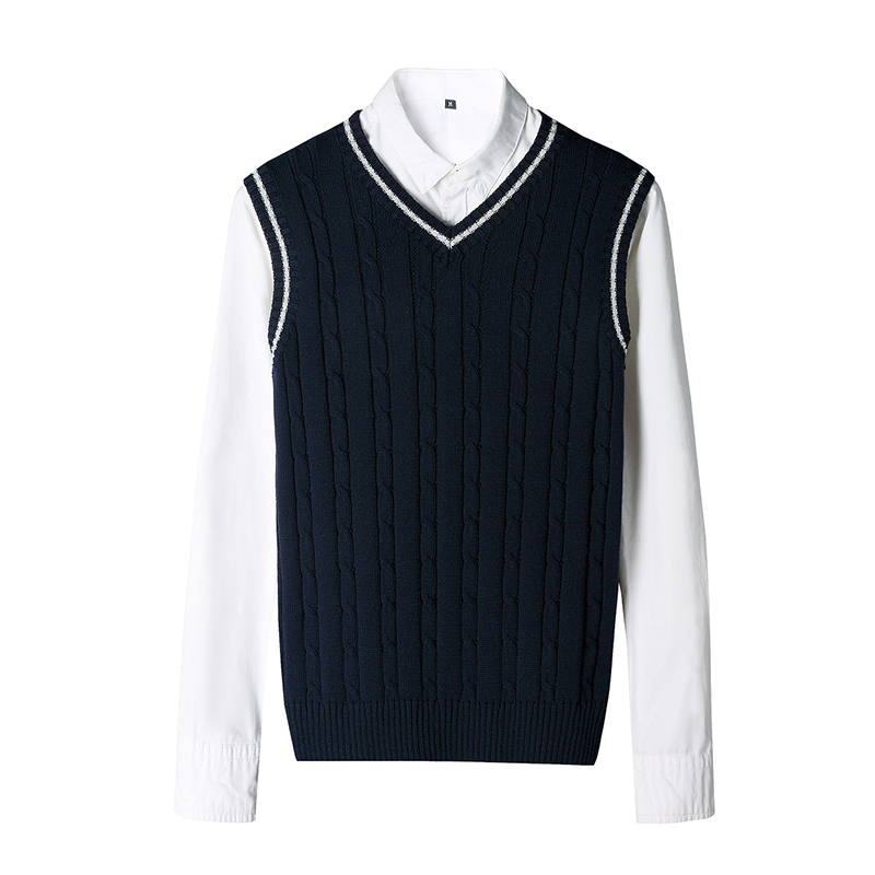 100% Cotton Solid V Neck Casual Male Sweater 2