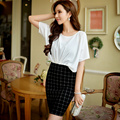 Original 2017 Brand Vestidos Batwing Sleeve Plus Size Slim Elegant Casual Summer Plaid Patchwork Pencil Dress Women Wholesale