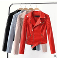 Woman PU leather Jacket Motorcycle Jacket NEW Women Short section of Small Leather Jacket Black and red spring coat