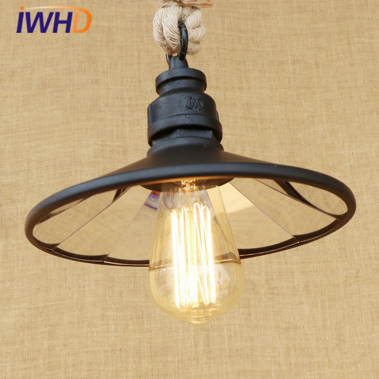 Hemp Rope RH Loft LED Pendant Lights Vintage Industrial Pendant Light Fixtures Home Lighting Hanging Lamp Lamparas Colgantes цена