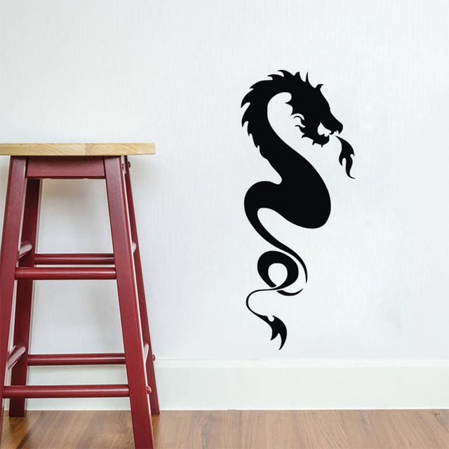 Tribal Fire Breathing Dragon Wall Stickers Home Decor Vinyl Wall Decals  Animals Removable Murals
