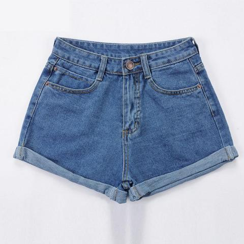 High Waist Denim Shorts Size XL Female Short Jeans for Women 2016 Summer Ladies Hot Shorts solid crimping denim shorts Multan