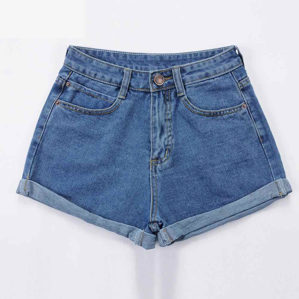 Tinggi Pinggang Denim Celana Pendek Ukuran XL Wanita Pendek Celana Jeans untuk Wanita 2016 Musim Panas Wanita Hot Celana Pendek Padat Crimping Denim Celana Pendek