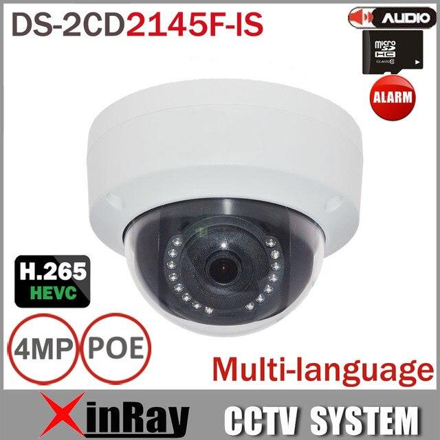 HIK DS-2CD2145F-IS Reemplazar DS-2CD3145F-IS 4MP HEVC H.265 Ip con Ranura Para Tarjeta TF Mini Domo IP POE CCTV Cámara