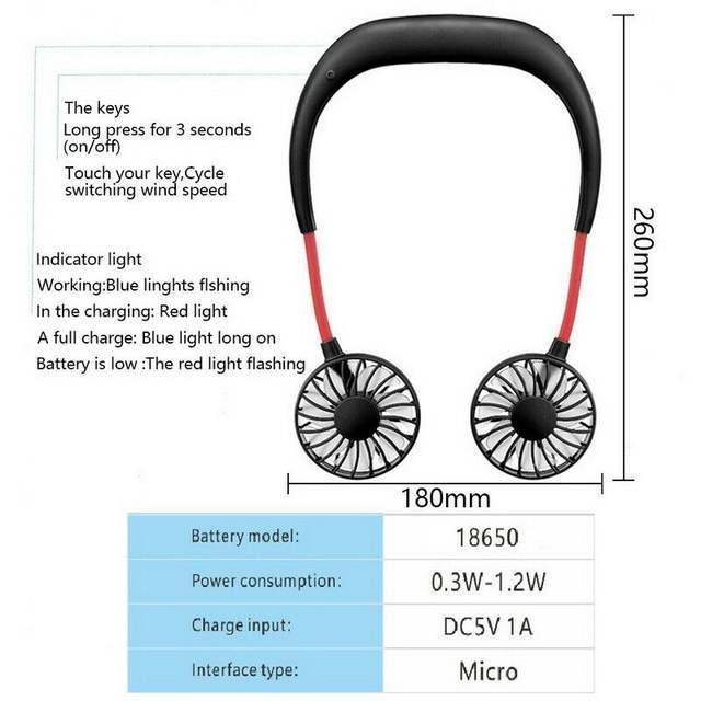 Neck Mini Fan  Adjustable Fan