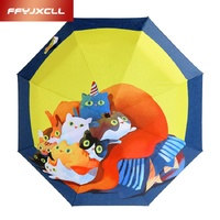 Sunny And Rainy Umbrella Personality Cartoon Pet Cat Pattern Anti UV Folding Umbrella Rain Women Parasol