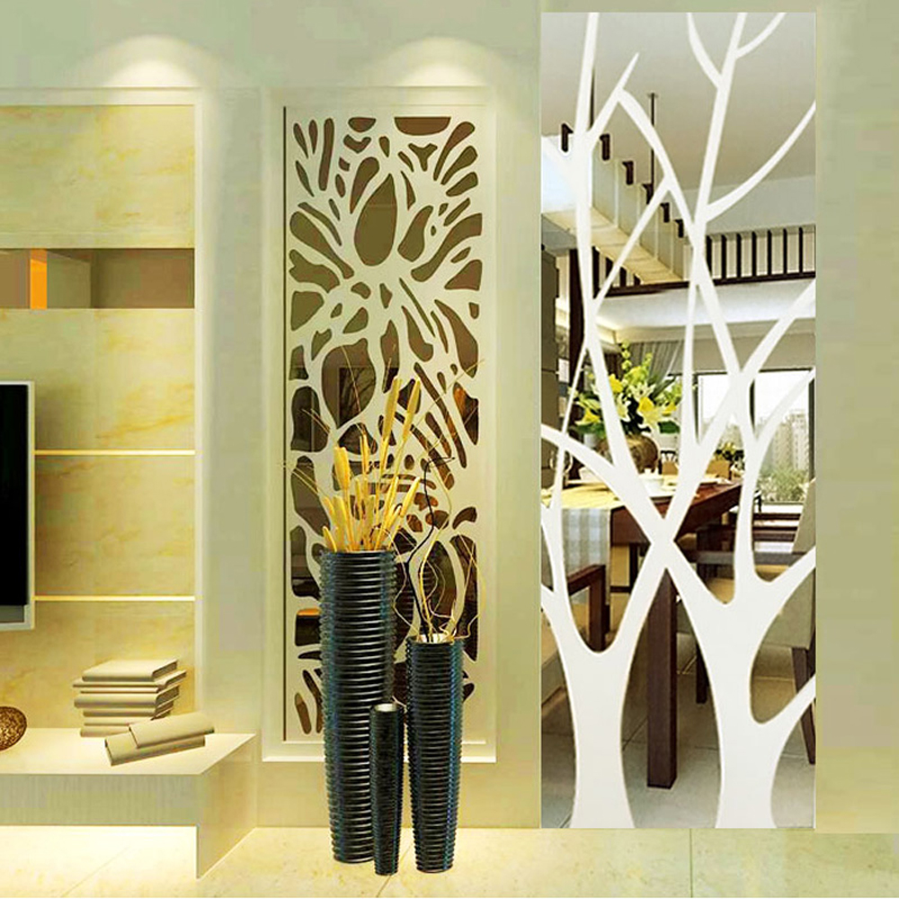Tree Pattern 3D Acrylic Mirror Effect Wall Sticker DIY Wall Decor ...
