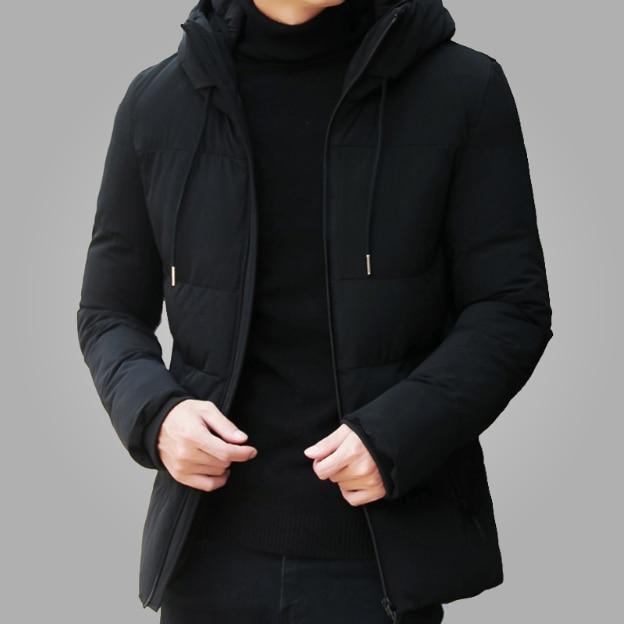 Зимняя куртка мужская одежда 2018 Повседневная воротник-стойка с капюшоном  воротник модное зимнее пальто Мужская 28203b87de5
