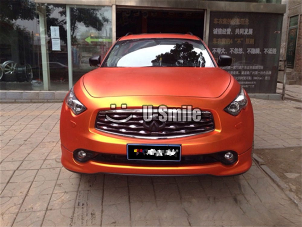 Premium Orange Matte Metallic Vinyl Film Wrap Air Free For Car Wrapping