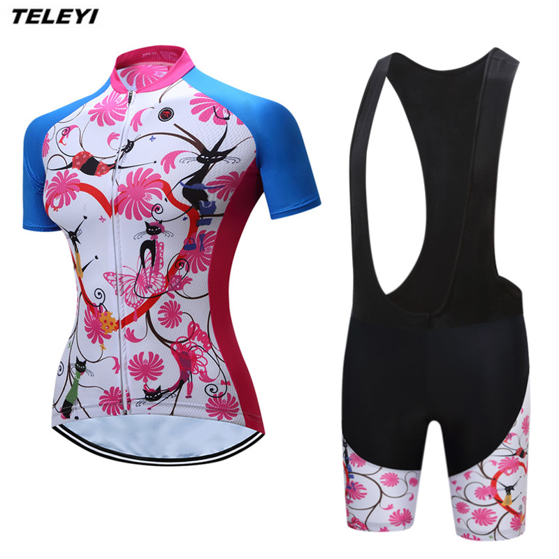 2017 Flower Pink Pro Cycling jersey Set Women Bike clothing clothes Girl Ropa Ciclismo MTB bicycle jersey Top Bib Padded Shorts