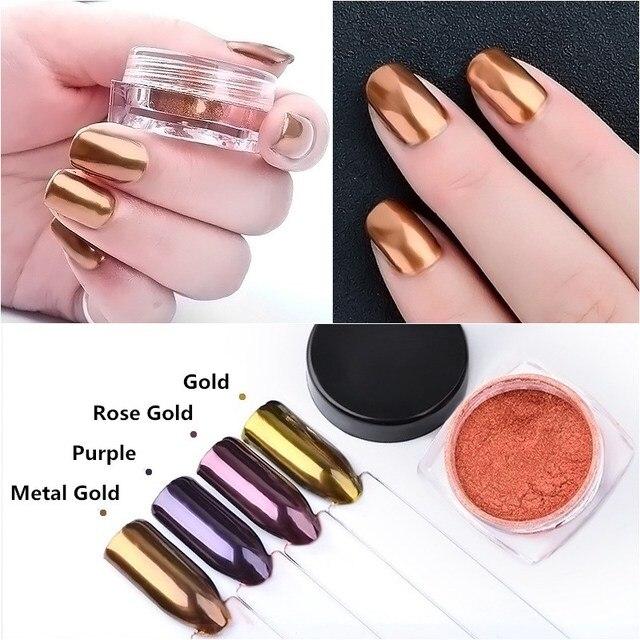 2 g/caja decoraciones de uñas producto de larga duración oro púrpura rojo rosa Color pigmento brillo metálico espejo polvo uñas brillo