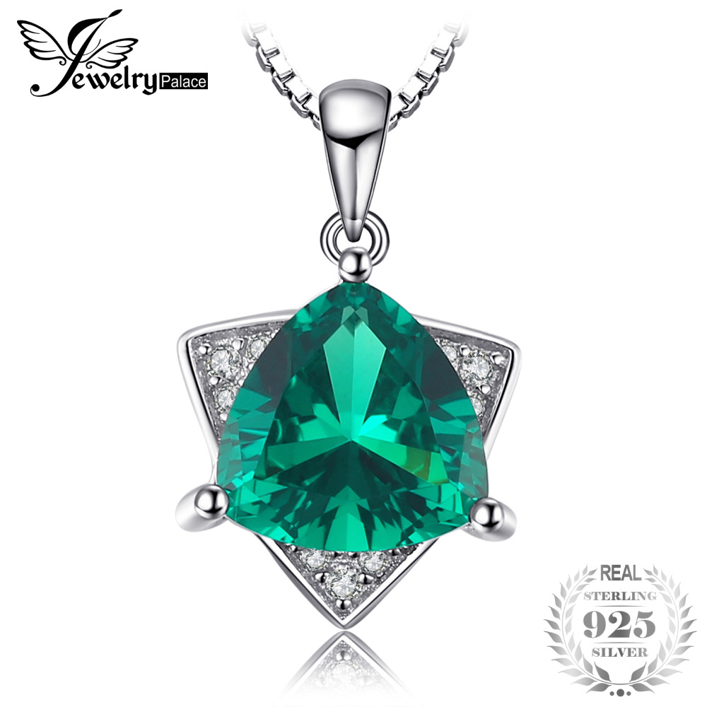 JewelryPalace Triangle Shape 1.68ct Created Emerald Necklace & Pendant 925 Sterling Silver With 45cm Chain For Women Jewelry triangle fringed paillette pendant necklace