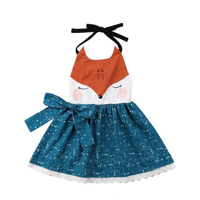 Pudcoco очаровательны девушки платье с лисой для малышей Холтер мультфильм  летнее праздничное платье Сарафан a619785660c