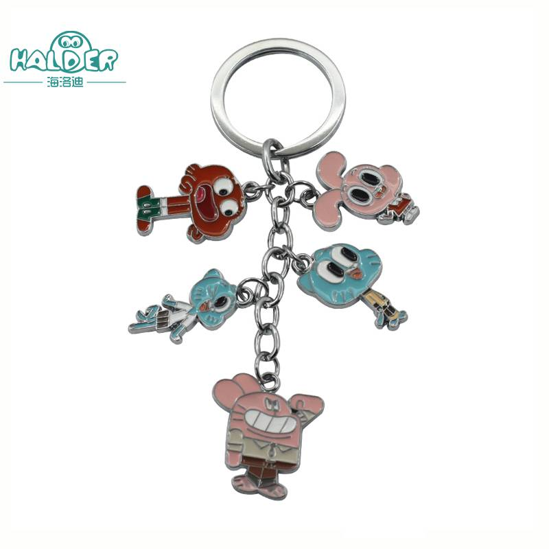 Halder Anime The Amazing World of Gumball Figures Key Chains Darwin Anais Nicole Richard Keyring Cartoon Trinkets Accessories high quality new fashion 47 42mm 1 85 1 65 inches the flower of life the seed of life key chains fashion keyring