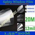 12 Mil de Seguridad Ventana de Película de Seguridad Transparente 0.3mm película de seguridad ventana $ number pies * $ number pies (1.52*20 metro)