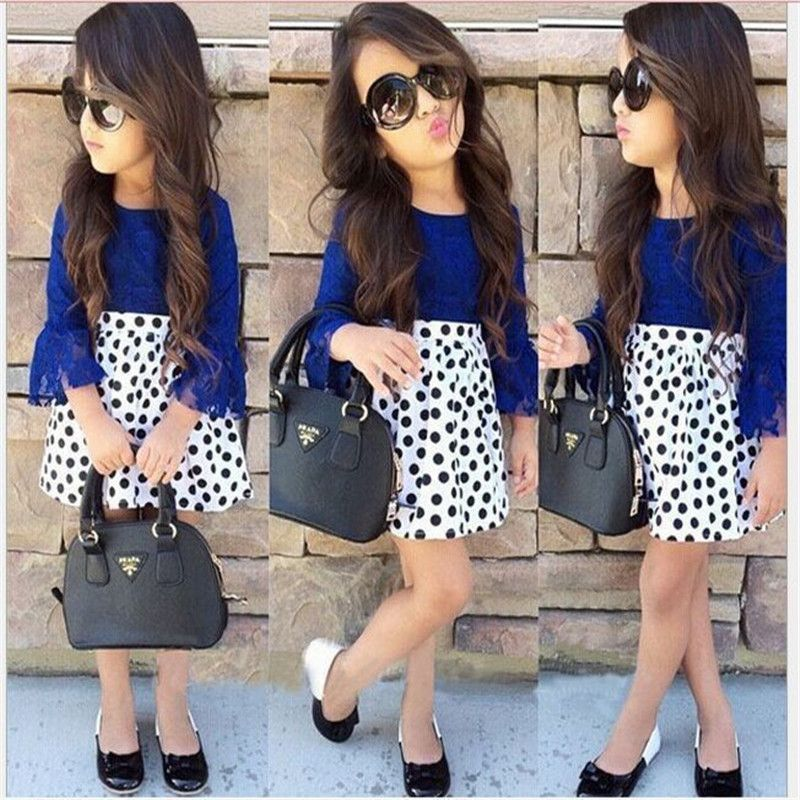 2016 New Spring Baby Girls Clothing Set Boutique Outfits Sets For Cute Style Kids Girl 2pc Lace Shirt Topdot Skirt Clothes 2 7t In Clothing Sets From