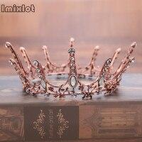 Sıcak Satış Lüks Vintage Tiara Taç Kraliçe Tiaras Yuvarlak Avrupa Düğün Tiaras Bronz Büyük Taçlar Cosplay Saç Takı
